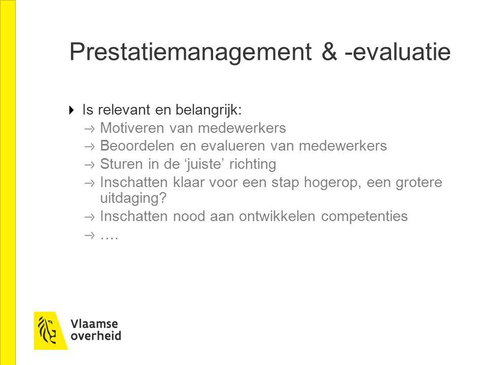 Prestatiemanagement & -evaluatie Is relevant en belangrijk: Motiveren van medewerkers Beoordelen en evalueren van medewerkers Sturen in de 'juiste' ri