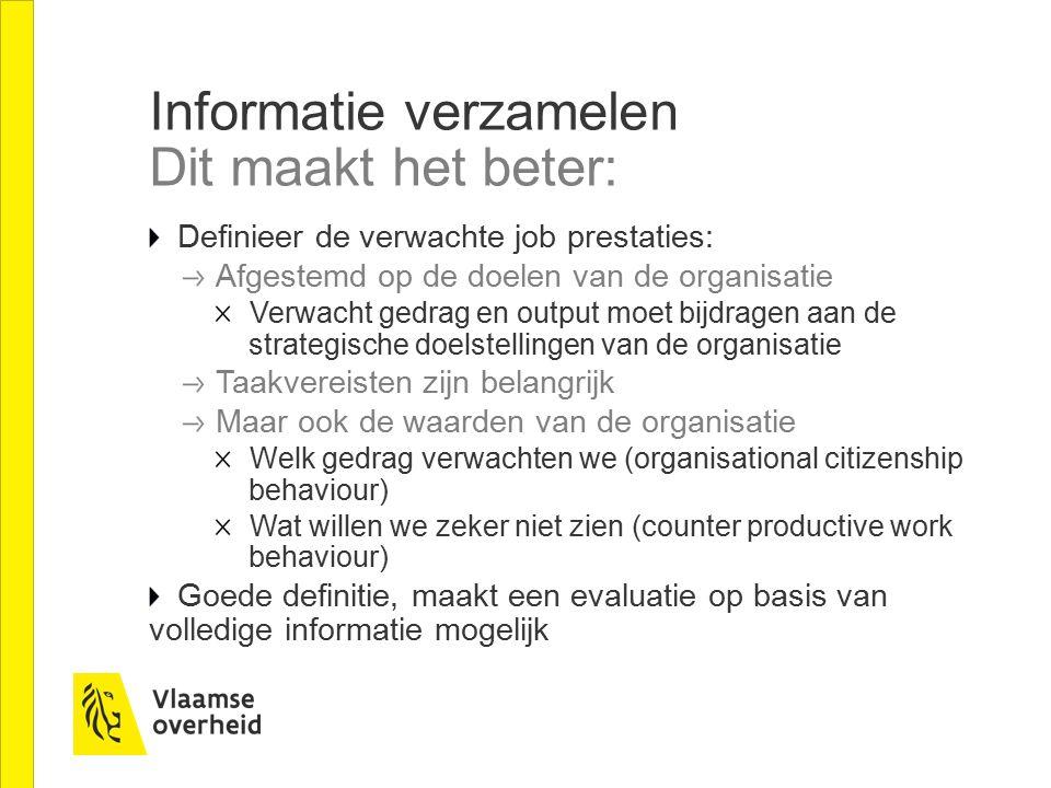 Informatie verzamelen Dit maakt het beter: Definieer de verwachte job prestaties: Afgestemd op de doelen van de organisatie Verwacht gedrag en output