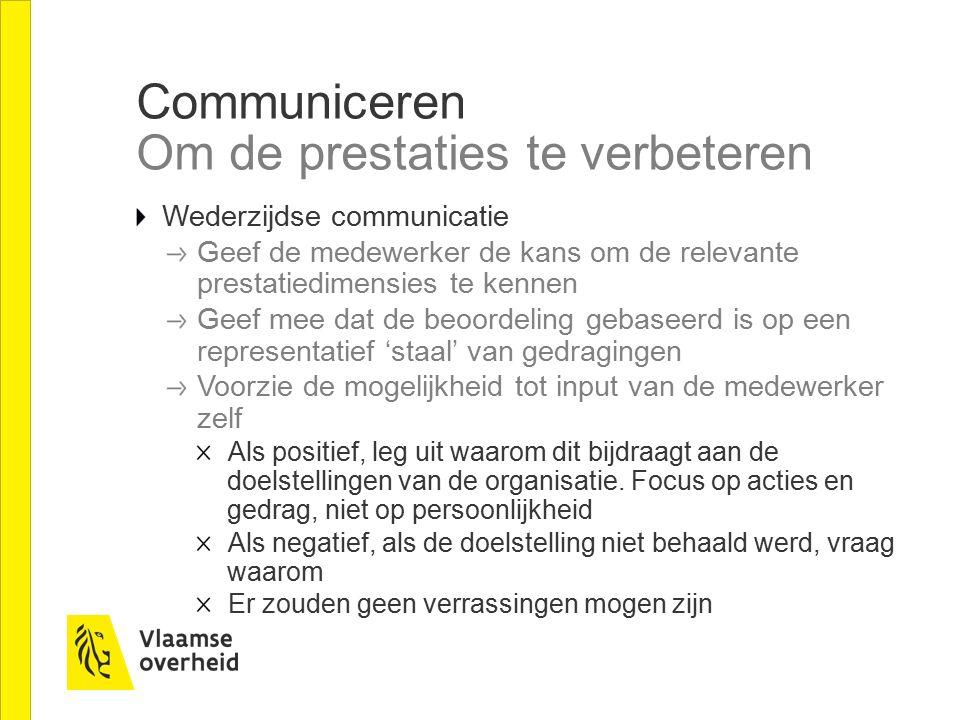 Communiceren Om de prestaties te verbeteren Wederzijdse communicatie Geef de medewerker de kans om de relevante prestatiedimensies te kennen Geef mee