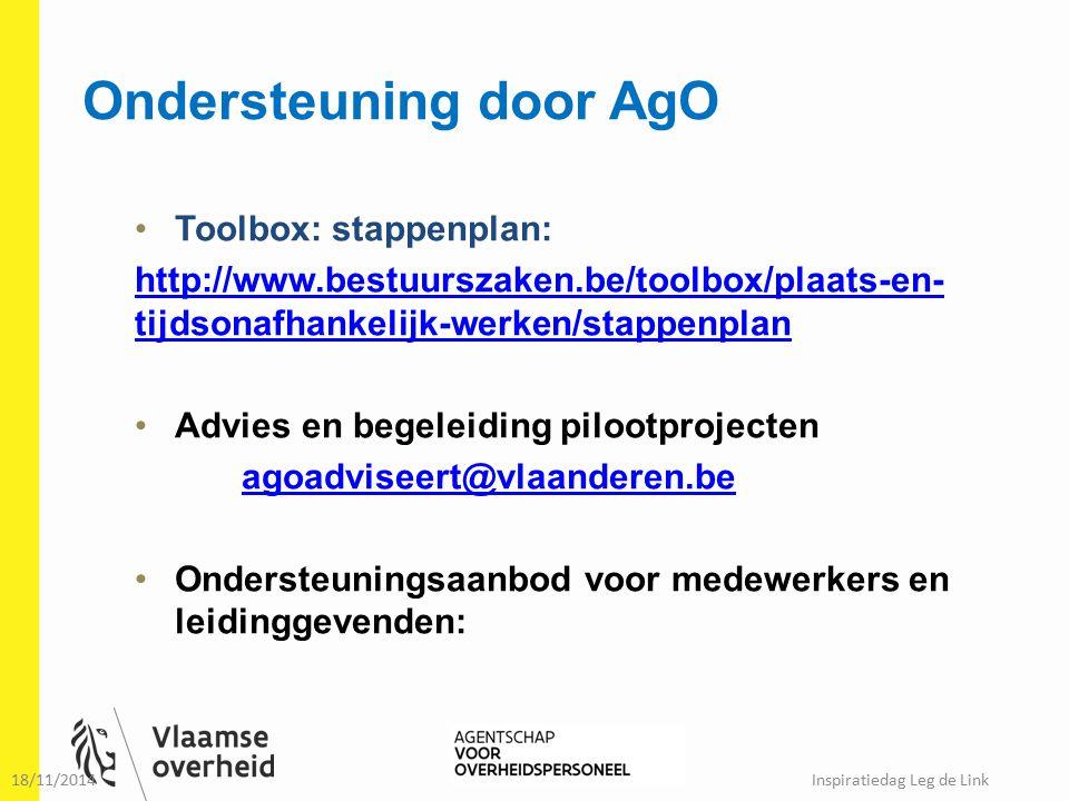 Ondersteuning door AgO Toolbox: stappenplan: http://www.bestuurszaken.be/toolbox/plaats-en- tijdsonafhankelijk-werken/stappenplan Advies en begeleidin