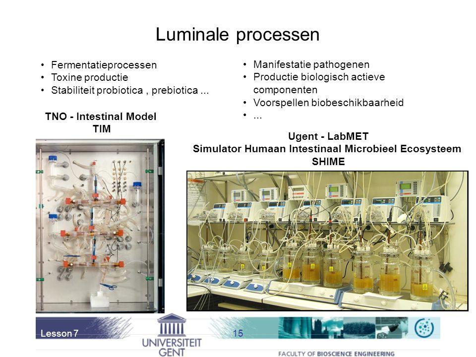 Lesson 714 In vitro simulatietechnologie Voordelen: –± eenvoudig –Hoger reproduceerbaarheid –Staalname mogelijk tijdens elke stap –Mechanistische stud