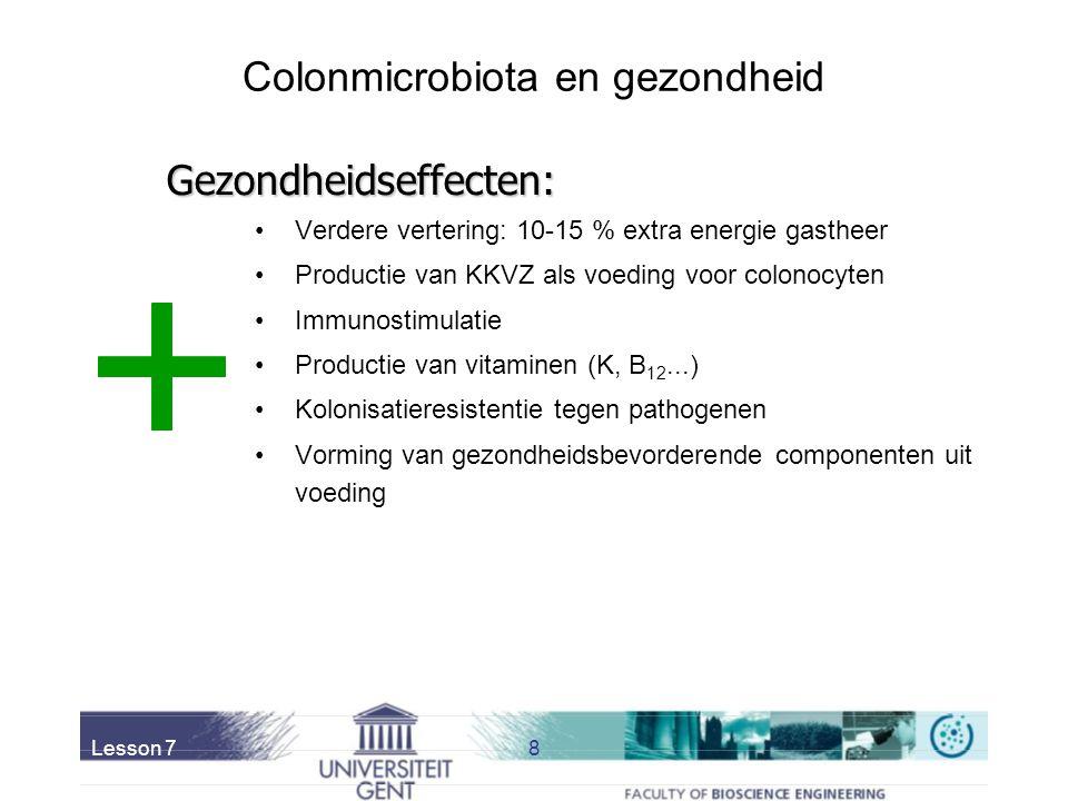Lesson 78 Colonmicrobiota en gezondheid Verdere vertering: 10-15 % extra energie gastheer Productie van KKVZ als voeding voor colonocyten Immunostimulatie Productie van vitaminen (K, B 12...) Kolonisatieresistentie tegen pathogenen Vorming van gezondheidsbevorderende componenten uit voeding Gezondheidseffecten: