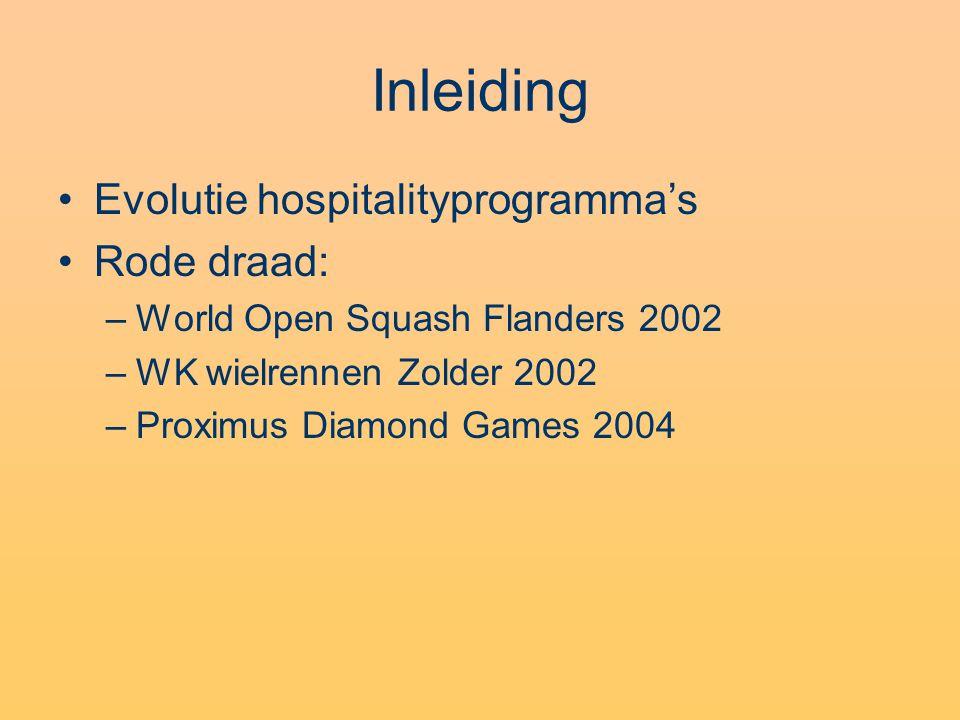 Evenementenhospitality Hoeksteen in de pr Doel: stakeholders onderscheidende en onvergetelijke belevenissen aanbieden Pijlers: –Keuze wedstrijdlocatie –Spelershospitality –Hospitalitydiensten voor toeschouwers (zie verder)