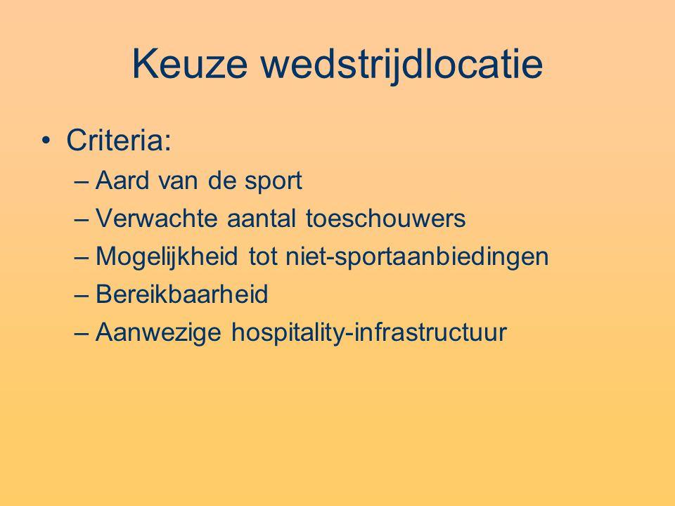 Keuze wedstrijdlocatie Criteria: –Aard van de sport –Verwachte aantal toeschouwers –Mogelijkheid tot niet-sportaanbiedingen –Bereikbaarheid –Aanwezige hospitality-infrastructuur