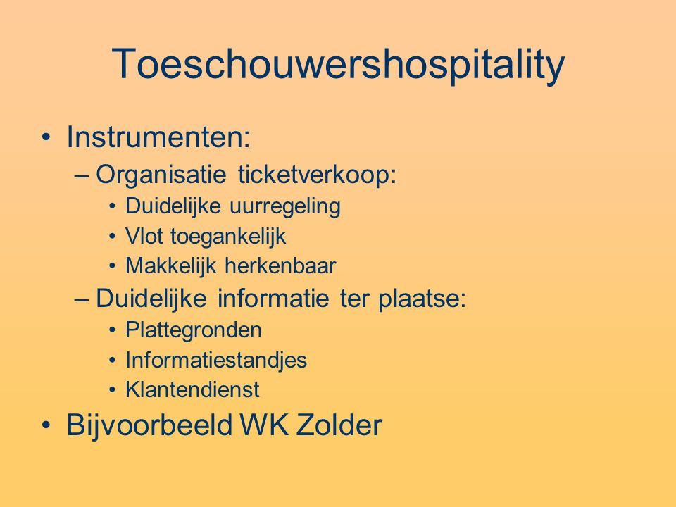 Toeschouwershospitality Instrumenten: –Organisatie ticketverkoop: Duidelijke uurregeling Vlot toegankelijk Makkelijk herkenbaar –Duidelijke informatie