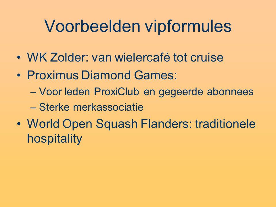 Voorbeelden vipformules WK Zolder: van wielercafé tot cruise Proximus Diamond Games: –Voor leden ProxiClub en gegeerde abonnees –Sterke merkassociatie World Open Squash Flanders: traditionele hospitality