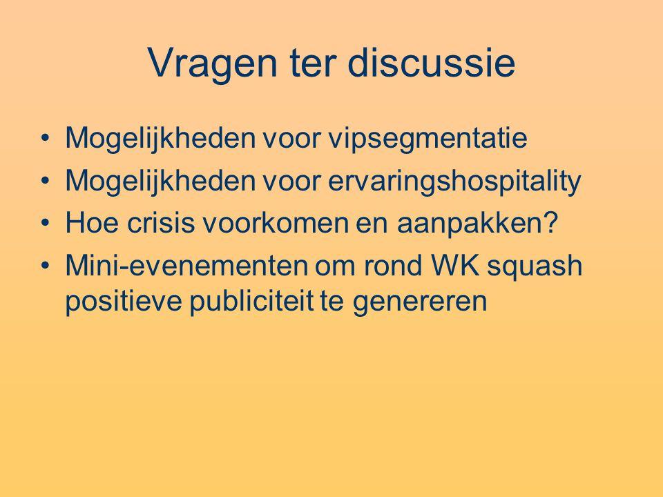 Vragen ter discussie Mogelijkheden voor vipsegmentatie Mogelijkheden voor ervaringshospitality Hoe crisis voorkomen en aanpakken? Mini-evenementen om
