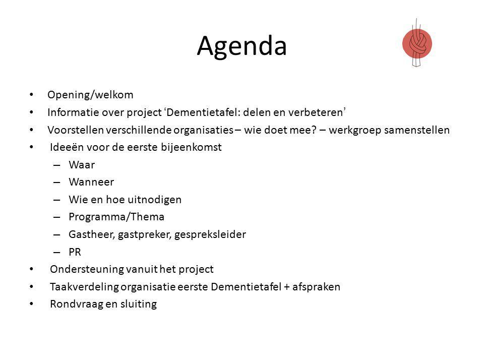 Agenda Opening/welkom Informatie over project 'Dementietafel: delen en verbeteren' Voorstellen verschillende organisaties – wie doet mee.