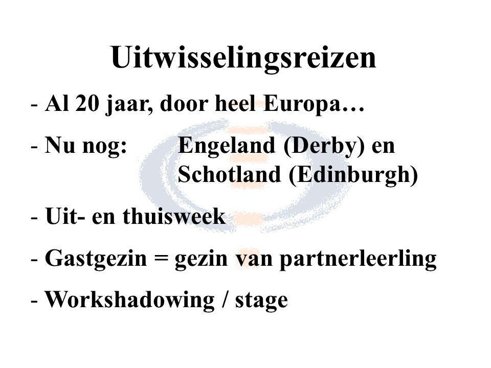 Uitwisselingsreizen - Al 20 jaar, door heel Europa… - Nu nog:Engeland (Derby) en Schotland (Edinburgh) - Uit- en thuisweek - Gastgezin = gezin van partnerleerling - Workshadowing / stage