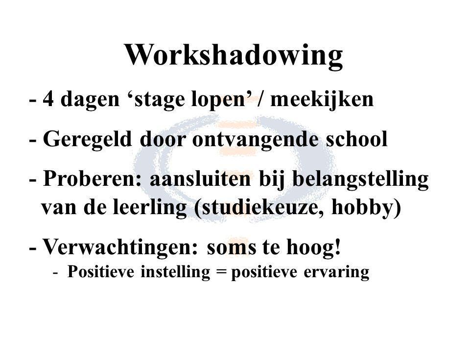 Workshadowing - 4 dagen 'stage lopen' / meekijken - Geregeld door ontvangende school - Proberen: aansluiten bij belangstelling van de leerling (studiekeuze, hobby) - Verwachtingen: soms te hoog.