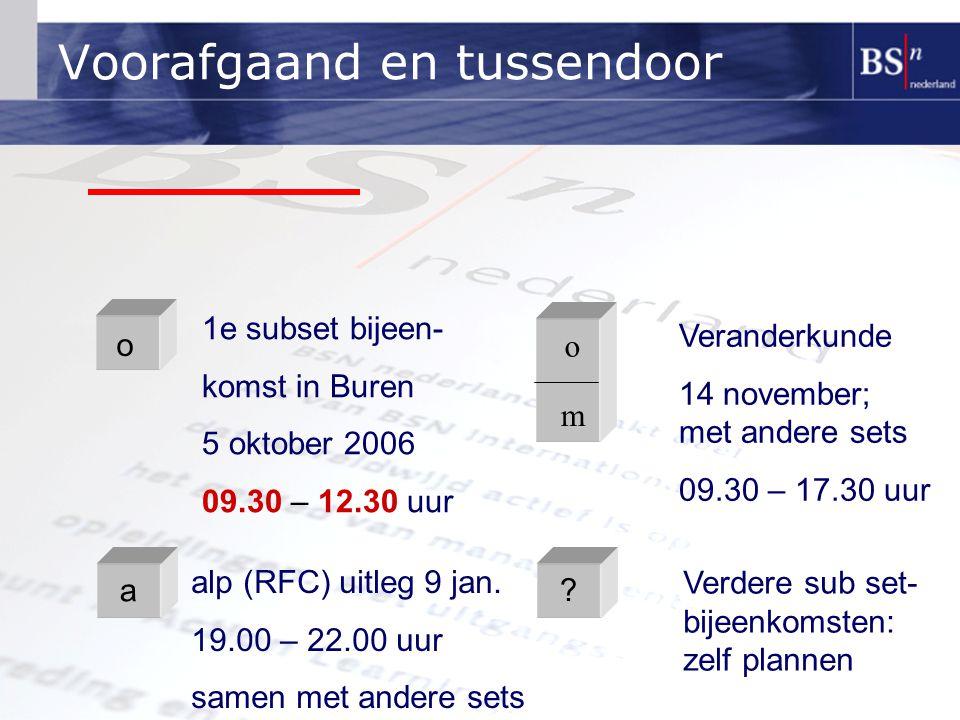 Voorafgaand en tussendoor o m o 1e subset bijeen- komst in Buren 5 oktober 2006 09.30 – 12.30 uur Veranderkunde 14 november; met andere sets 09.30 – 17.30 uur alp (RFC) uitleg 9 jan.