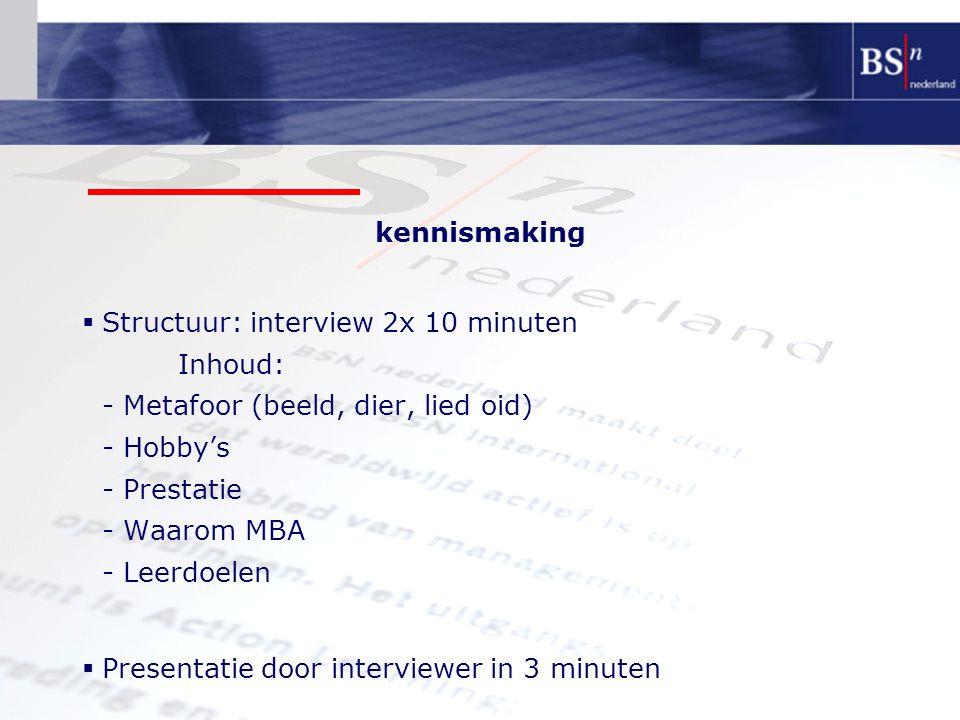 kennismaking  Structuur: interview 2x 10 minuten Inhoud: - Metafoor (beeld, dier, lied oid) - Hobby's - Prestatie - Waarom MBA - Leerdoelen  Presentatie door interviewer in 3 minuten