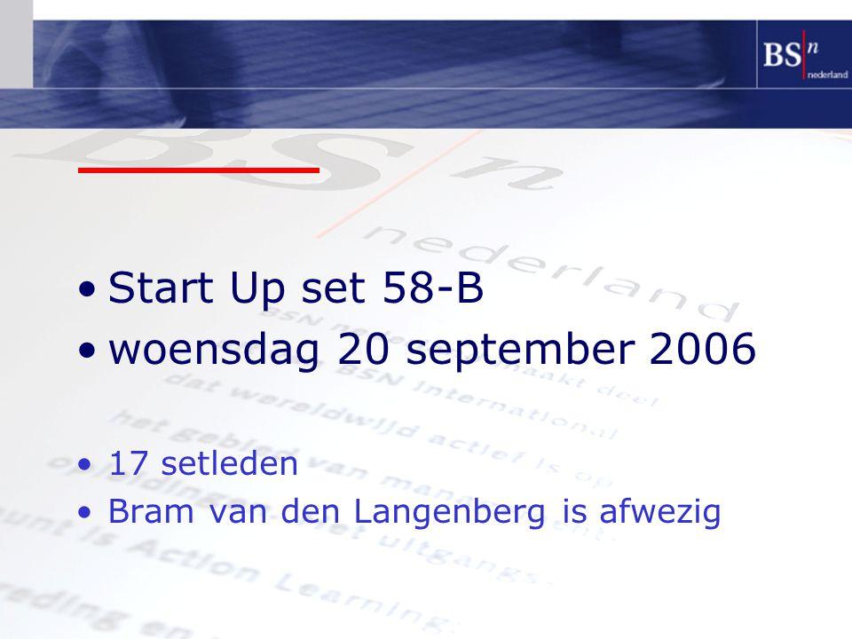 Start Up set 58-B woensdag 20 september 2006 17 setleden Bram van den Langenberg is afwezig