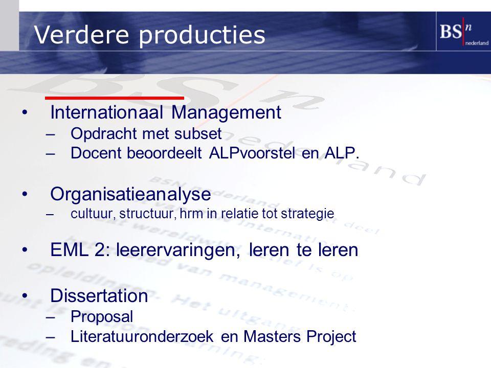 Internationaal Management –Opdracht met subset –Docent beoordeelt ALPvoorstel en ALP. Organisatieanalyse –cultuur, structuur, hrm in relatie tot strat