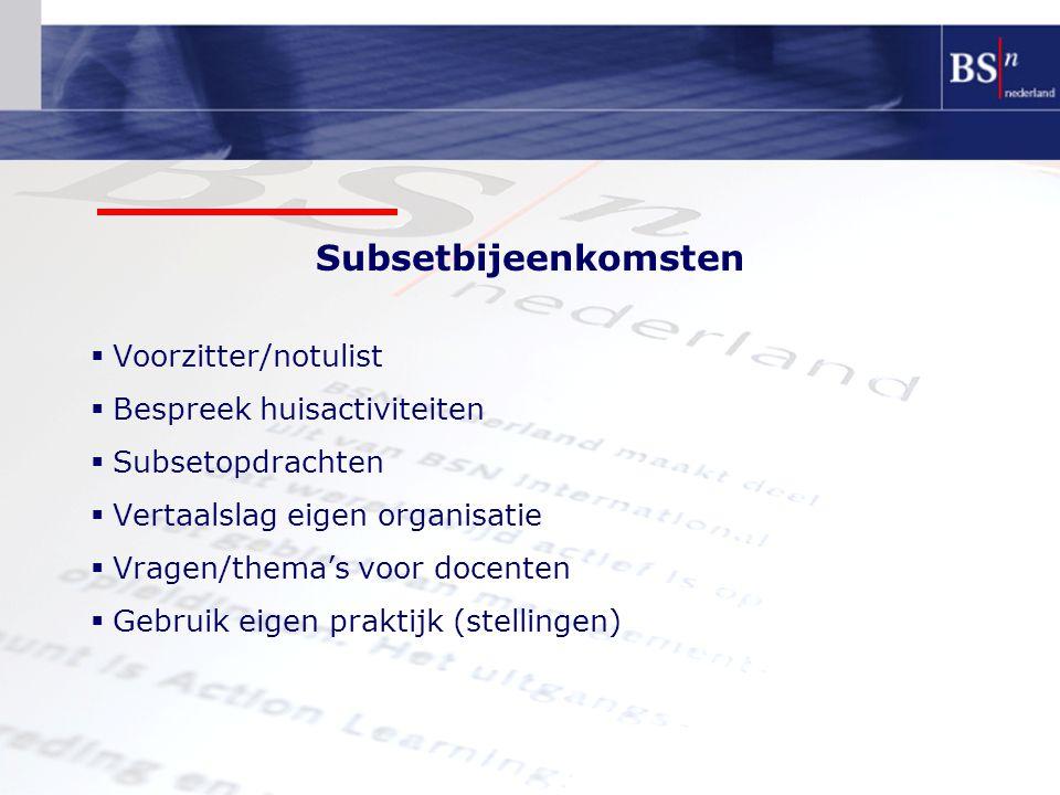 Subsetbijeenkomsten  Voorzitter/notulist  Bespreek huisactiviteiten  Subsetopdrachten  Vertaalslag eigen organisatie  Vragen/thema's voor docenten  Gebruik eigen praktijk (stellingen)
