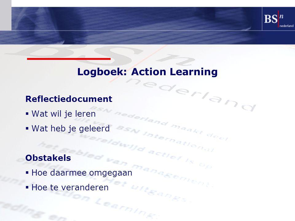 Logboek: Action Learning Reflectiedocument  Wat wil je leren  Wat heb je geleerd Obstakels  Hoe daarmee omgegaan  Hoe te veranderen