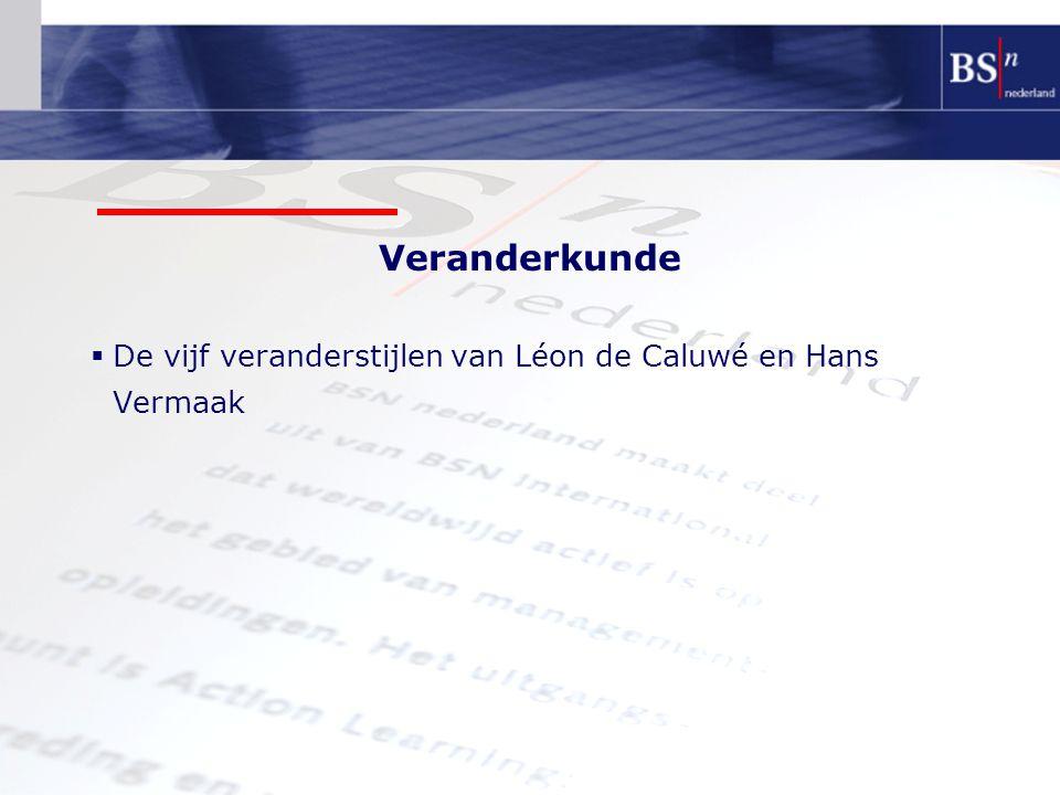 Veranderkunde  De vijf veranderstijlen van Léon de Caluwé en Hans Vermaak