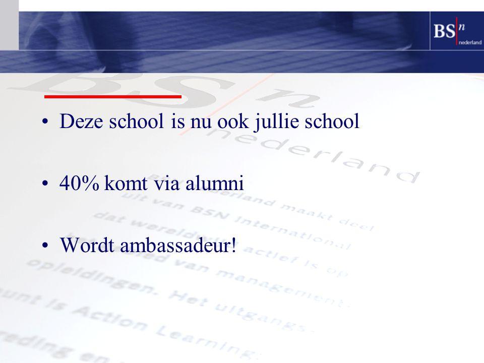 Deze school is nu ook jullie school 40% komt via alumni Wordt ambassadeur!