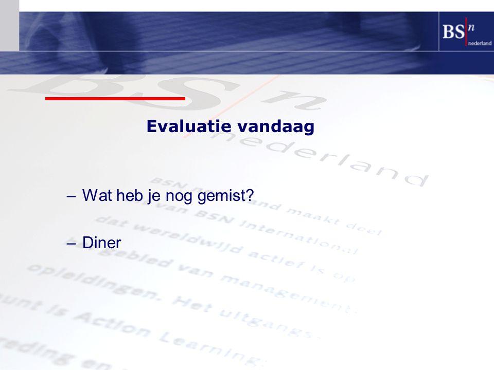 Evaluatie vandaag –Wat heb je nog gemist? –Diner