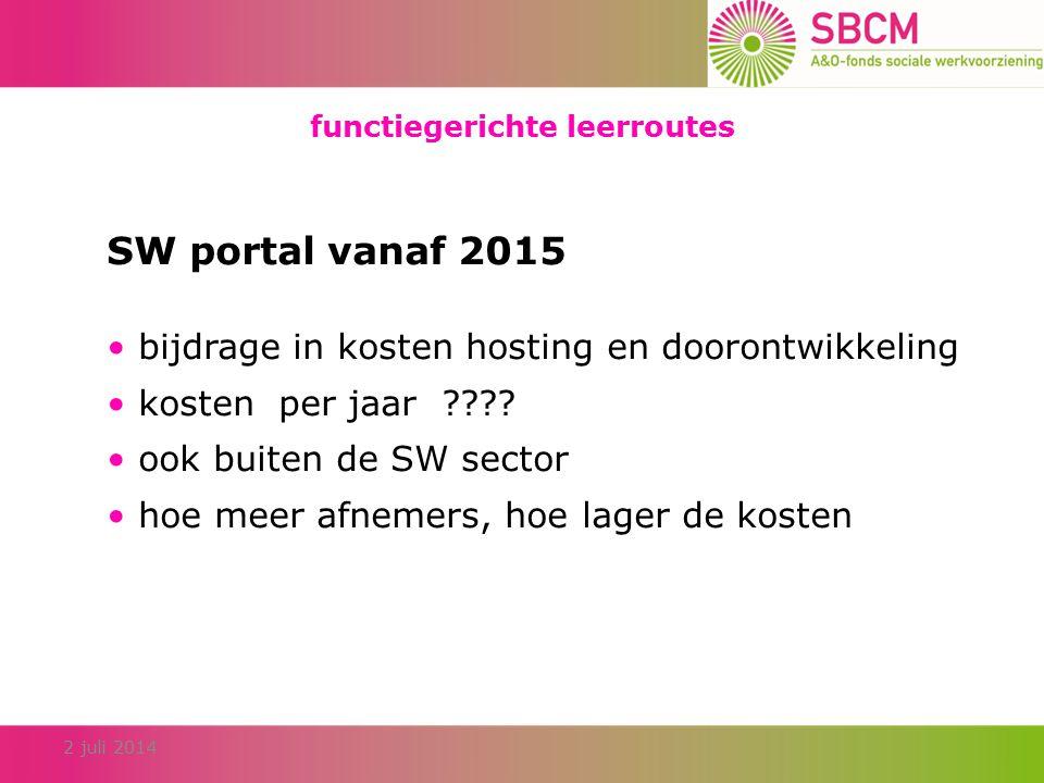 functiegerichte leerroutes 2 juli 2014 SW portal vanaf 2015 bijdrage in kosten hosting en doorontwikkeling kosten per jaar ???.