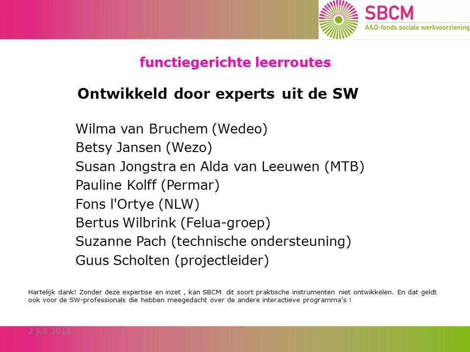 functiegerichte leerroutes 2 juli 2014 Ontwikkeld door experts uit de SW Wilma van Bruchem (Wedeo) Betsy Jansen (Wezo) Susan Jongstra en Alda van Leeuwen (MTB) Pauline Kolff (Permar) Fons l Ortye (NLW) Bertus Wilbrink (Felua-groep) Suzanne Pach (technische ondersteuning) Guus Scholten (projectleider) Hartelijk dank.