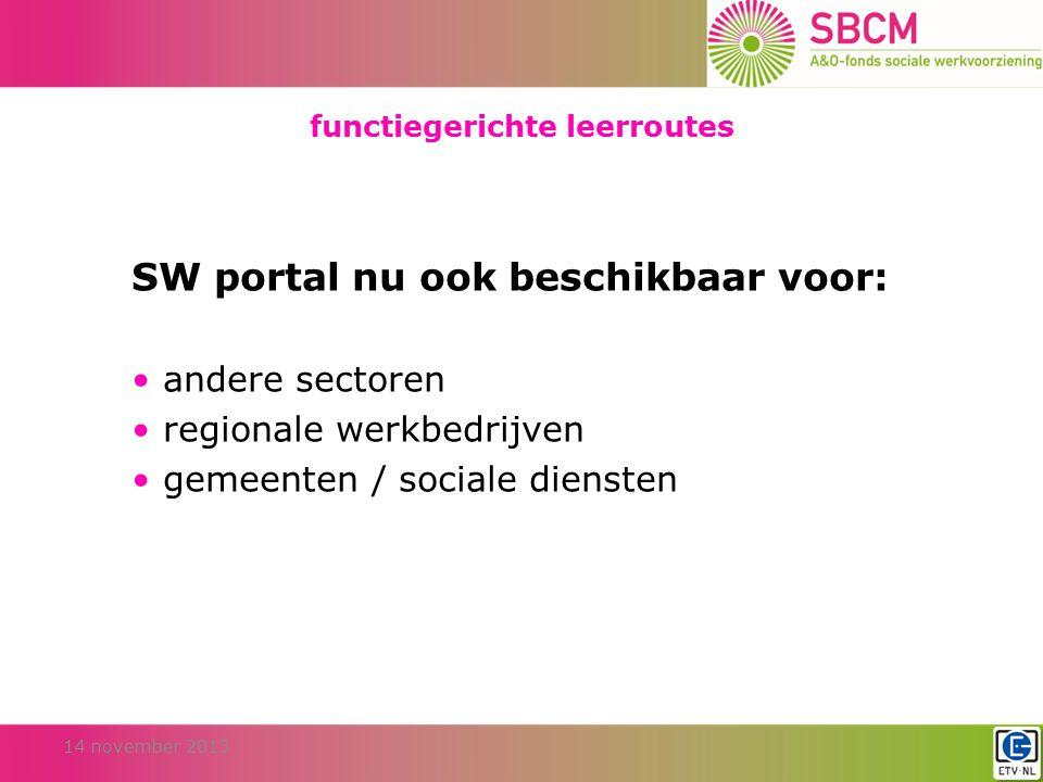 functiegerichte leerroutes 14 november 2013 SW portal nu ook beschikbaar voor: andere sectoren regionale werkbedrijven gemeenten / sociale diensten