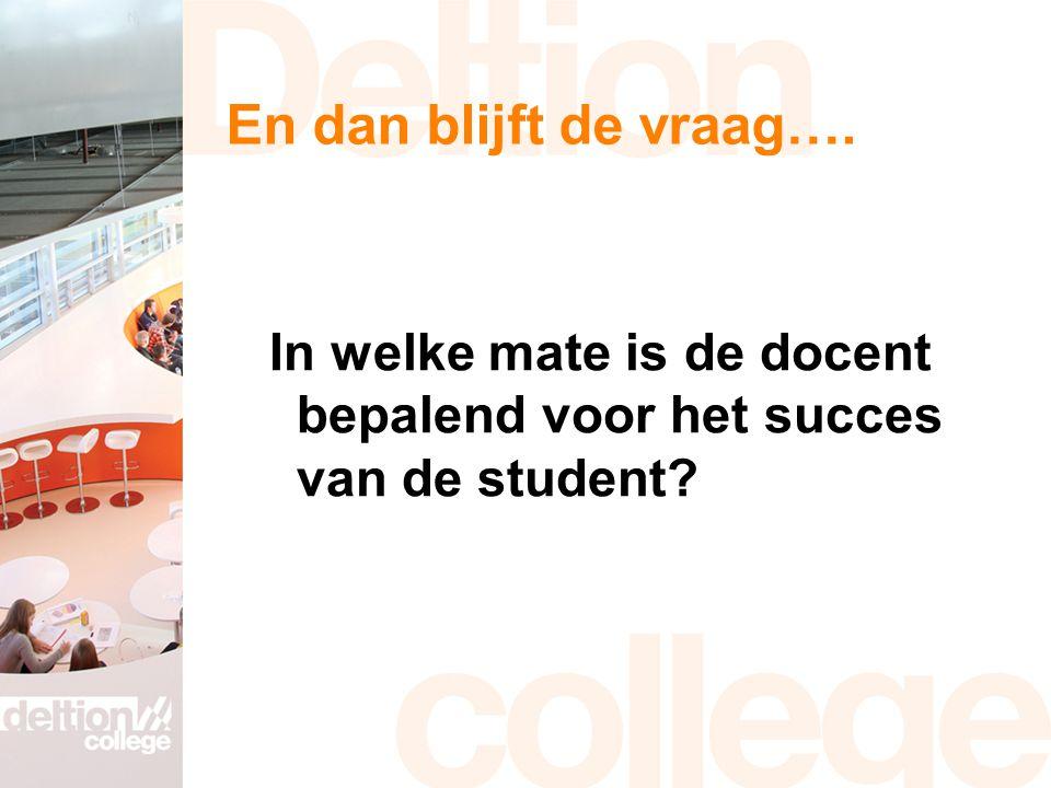 En dan blijft de vraag…. In welke mate is de docent bepalend voor het succes van de student?