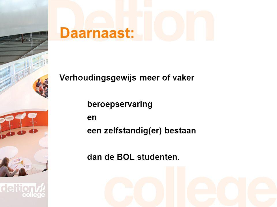 Daarnaast: Verhoudingsgewijs meer of vaker beroepservaring en een zelfstandig(er) bestaan dan de BOL studenten.
