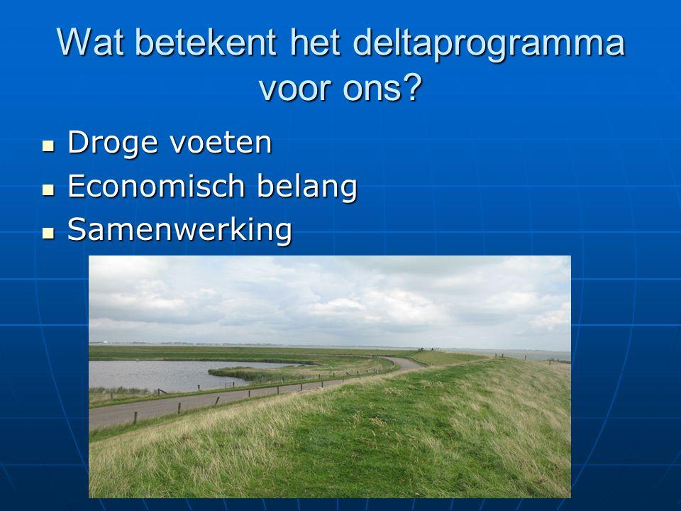 Wat betekent het deltaprogramma voor ons? Droge voeten Droge voeten Economisch belang Economisch belang Samenwerking Samenwerking