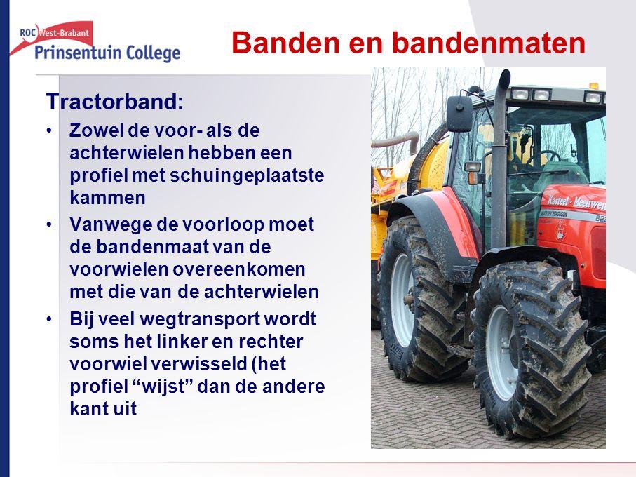 Banden en bandenmaten Tractorband: Zowel de voor- als de achterwielen hebben een profiel met schuingeplaatste kammen Vanwege de voorloop moet de bande