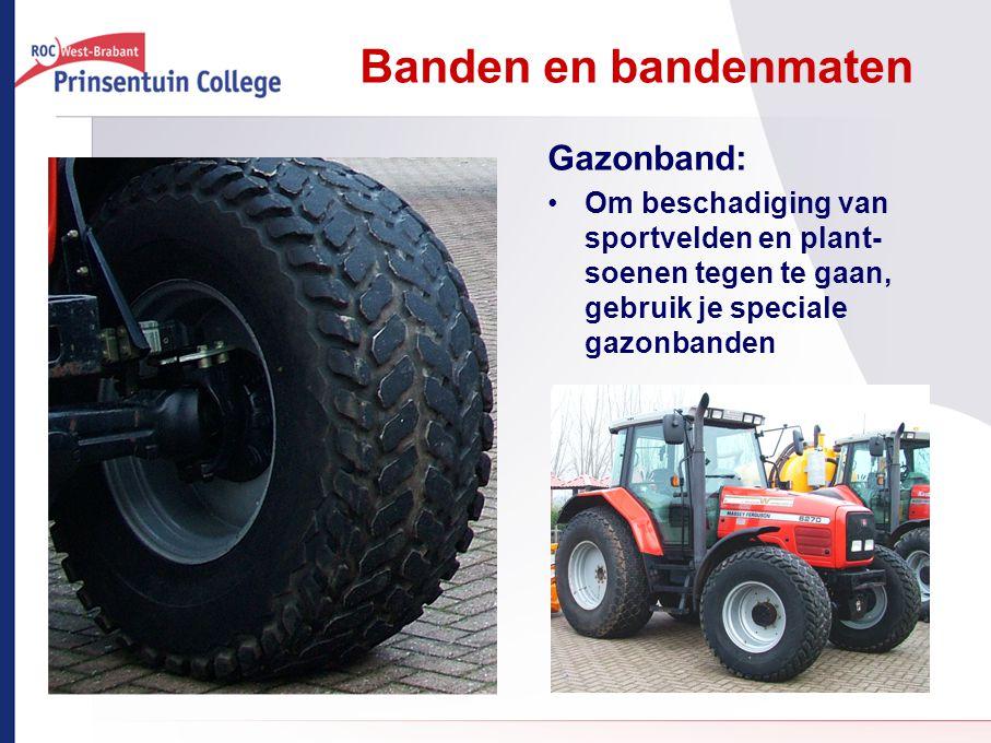 Banden en bandenmaten Gazonband: Om beschadiging van sportvelden en plant- soenen tegen te gaan, gebruik je speciale gazonbanden