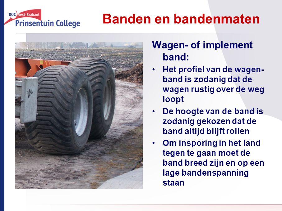 Banden en bandenmaten Wagen- of implement band: Het profiel van de wagen- band is zodanig dat de wagen rustig over de weg loopt De hoogte van de band