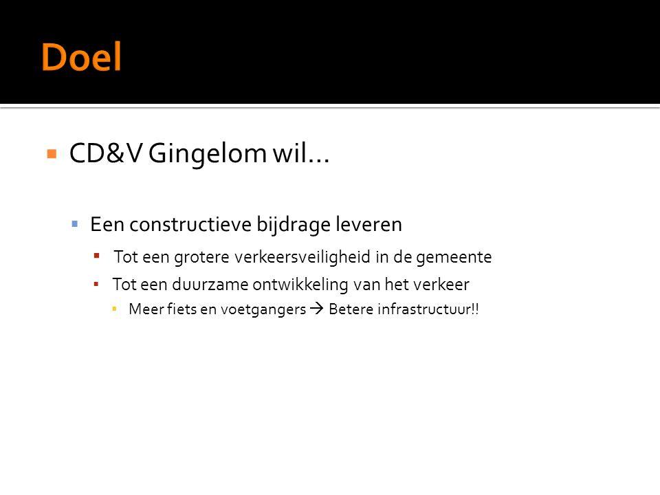  CD&V Gingelom wil…  Een constructieve bijdrage leveren ▪ Tot een grotere verkeersveiligheid in de gemeente ▪ Tot een duurzame ontwikkeling van het verkeer ▪ Meer fiets en voetgangers  Betere infrastructuur!!