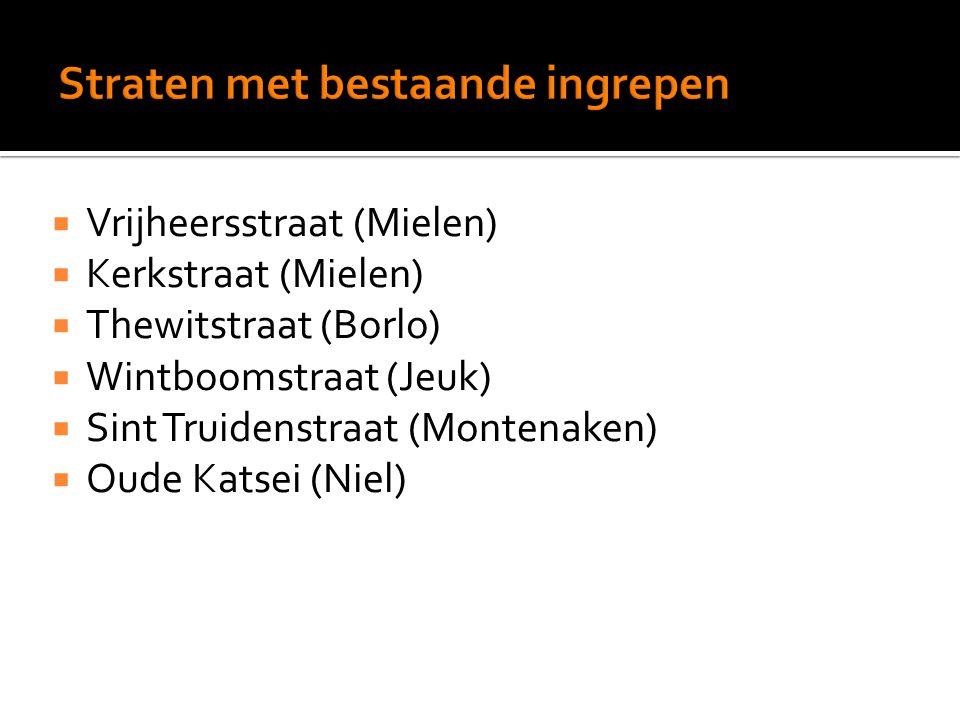  Vrijheersstraat (Mielen)  Kerkstraat (Mielen)  Thewitstraat (Borlo)  Wintboomstraat (Jeuk)  Sint Truidenstraat (Montenaken)  Oude Katsei (Niel)
