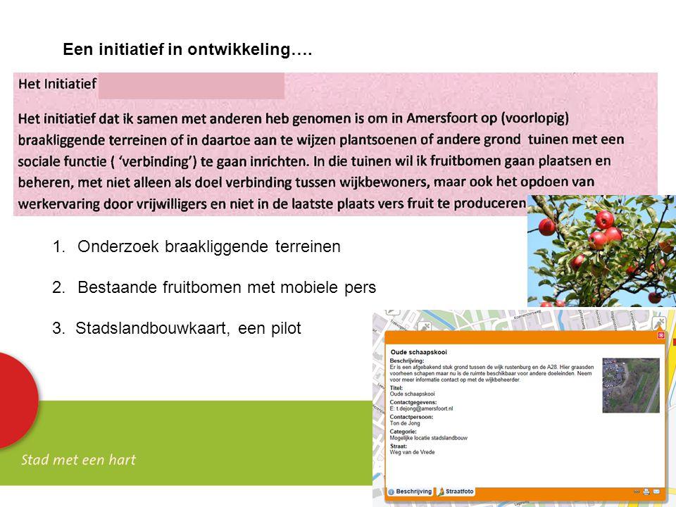 Een initiatief in ontwikkeling…. 1.Onderzoek braakliggende terreinen 2.Bestaande fruitbomen met mobiele pers 3. Stadslandbouwkaart, een pilot