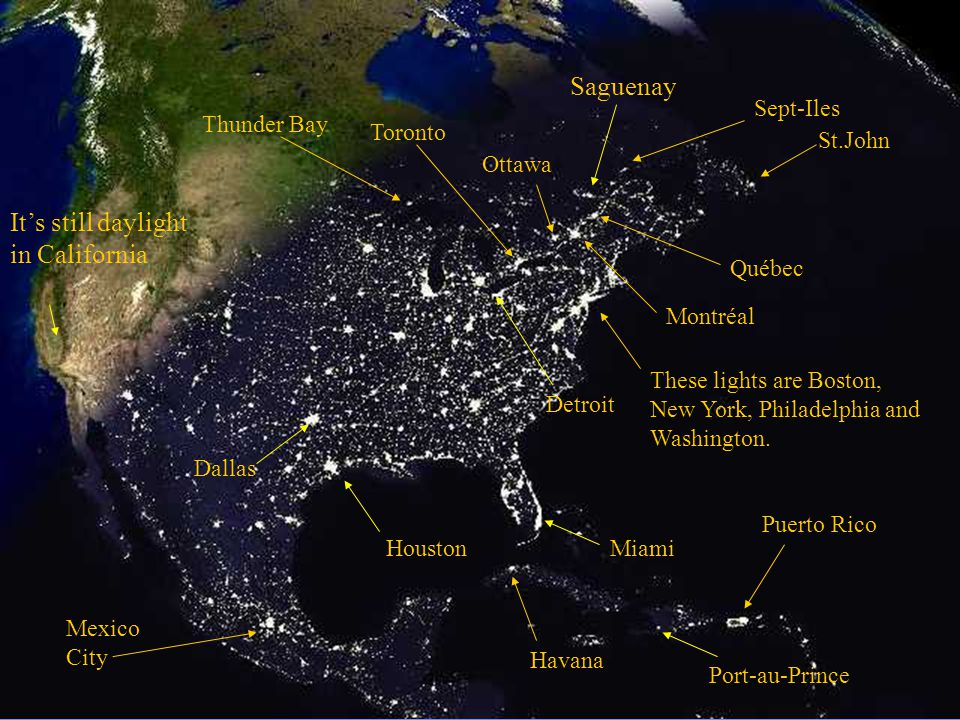 This picture shows American cities at night.