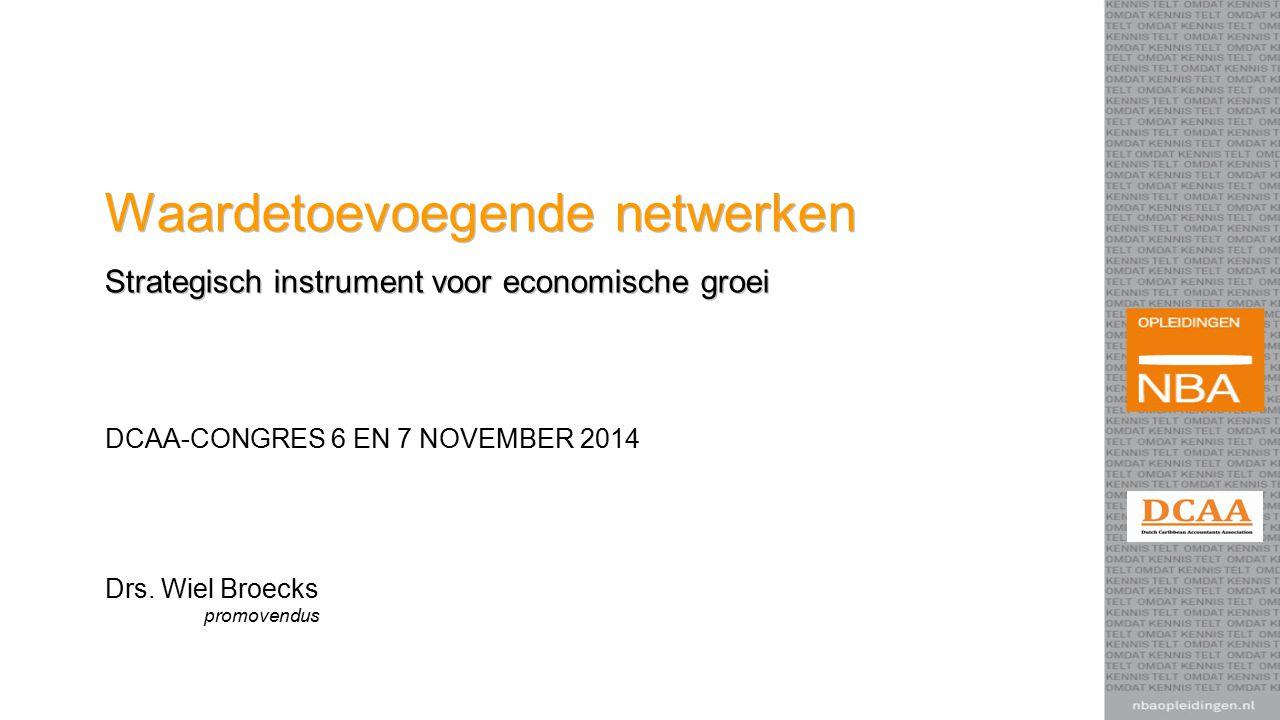 Waardetoevoegende netwerken Strategisch instrument voor economische groei Drs. Wiel Broecks promovendus DCAA-CONGRES 6 EN 7 NOVEMBER 2014