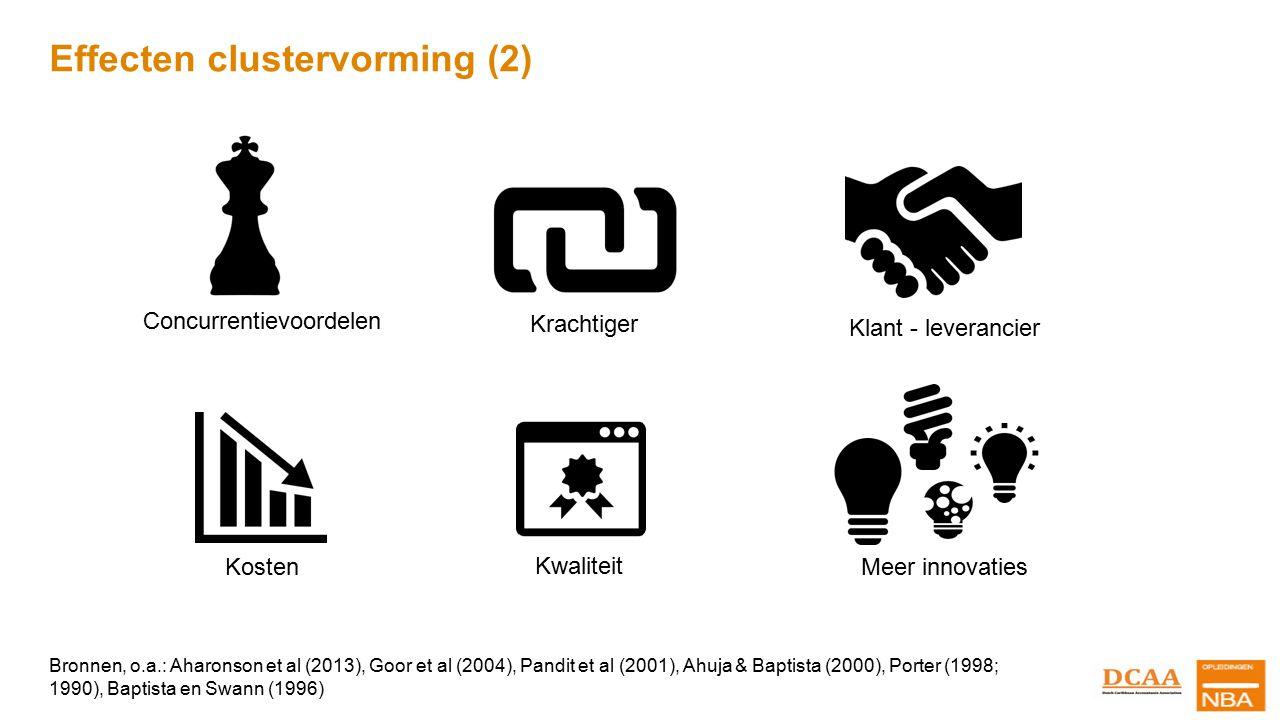 Effecten clustervorming (2) Concurrentievoordelen Klant - leverancier Kosten Krachtiger Kwaliteit Meer innovaties Bronnen, o.a.: Aharonson et al (2013