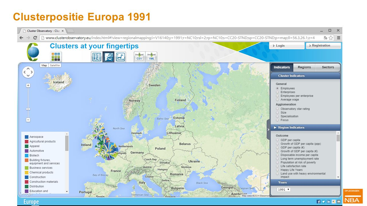 Clusterpositie Europa 1991