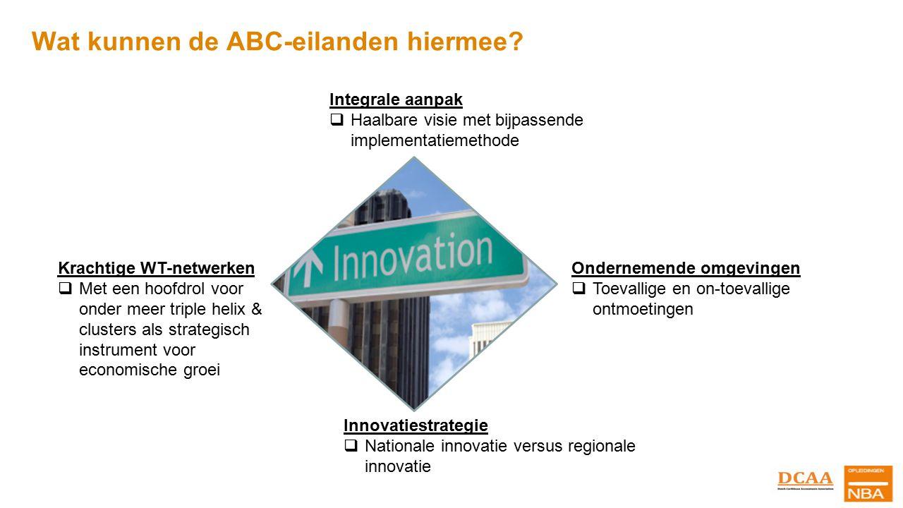 Wat kunnen de ABC-eilanden hiermee? Integrale aanpak  Haalbare visie met bijpassende implementatiemethode Innovatiestrategie  Nationale innovatie ve