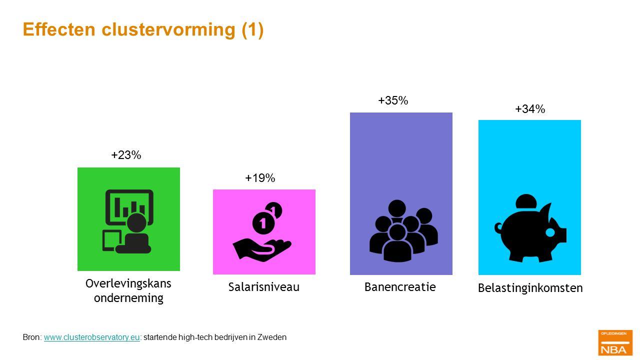 Effecten clustervorming (1) +35% +23% Overlevingskans onderneming Banencreatie +35% +19% Salarisniveau +34% Belastinginkomsten Bron: www.clusterobserv