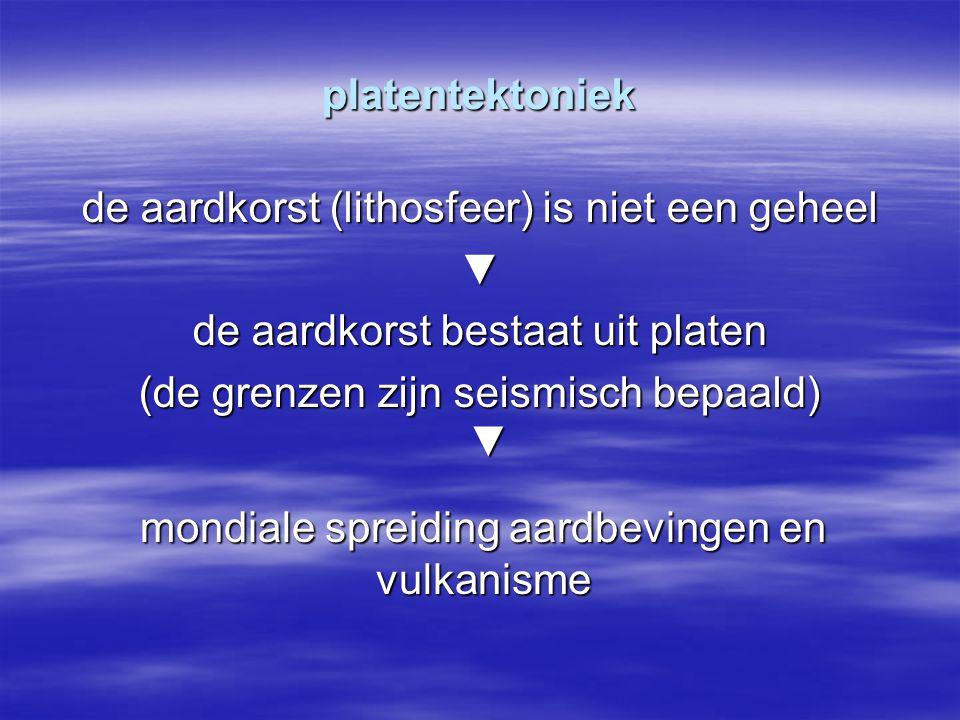 platentektoniek de aardkorst (lithosfeer) is niet een geheel ▼ de aardkorst bestaat uit platen (de grenzen zijn seismisch bepaald) mondiale spreiding aardbevingen en vulkanisme ▼