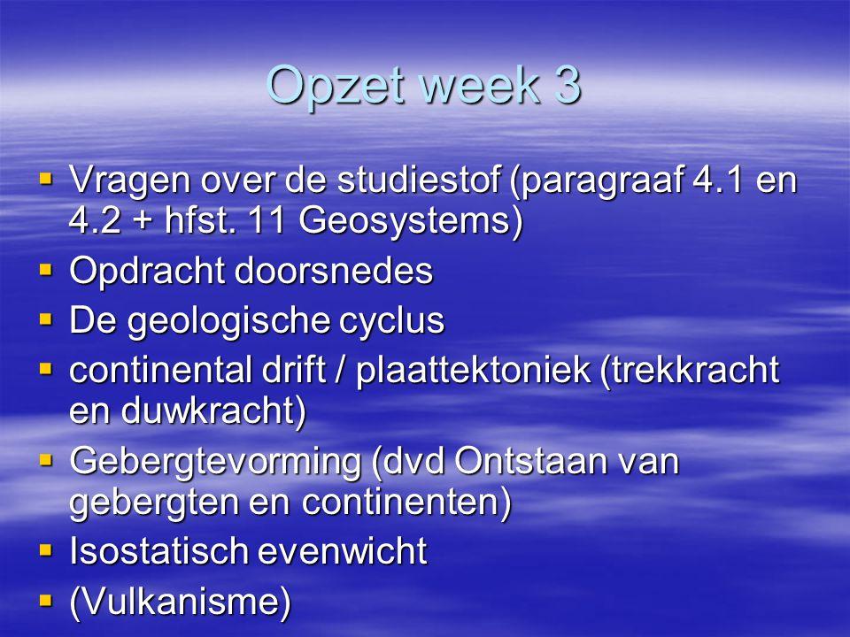 Opzet week 3  Vragen over de studiestof (paragraaf 4.1 en 4.2 + hfst.