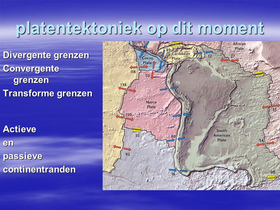 platentektoniek op dit moment Divergente grenzen Convergente grenzen Transforme grenzen Actieveenpassievecontinentranden