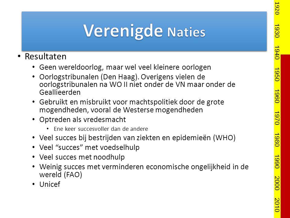 Resultaten Geen wereldoorlog, maar wel veel kleinere oorlogen Oorlogstribunalen (Den Haag). Overigens vielen de oorlogstribunalen na WO II niet onder