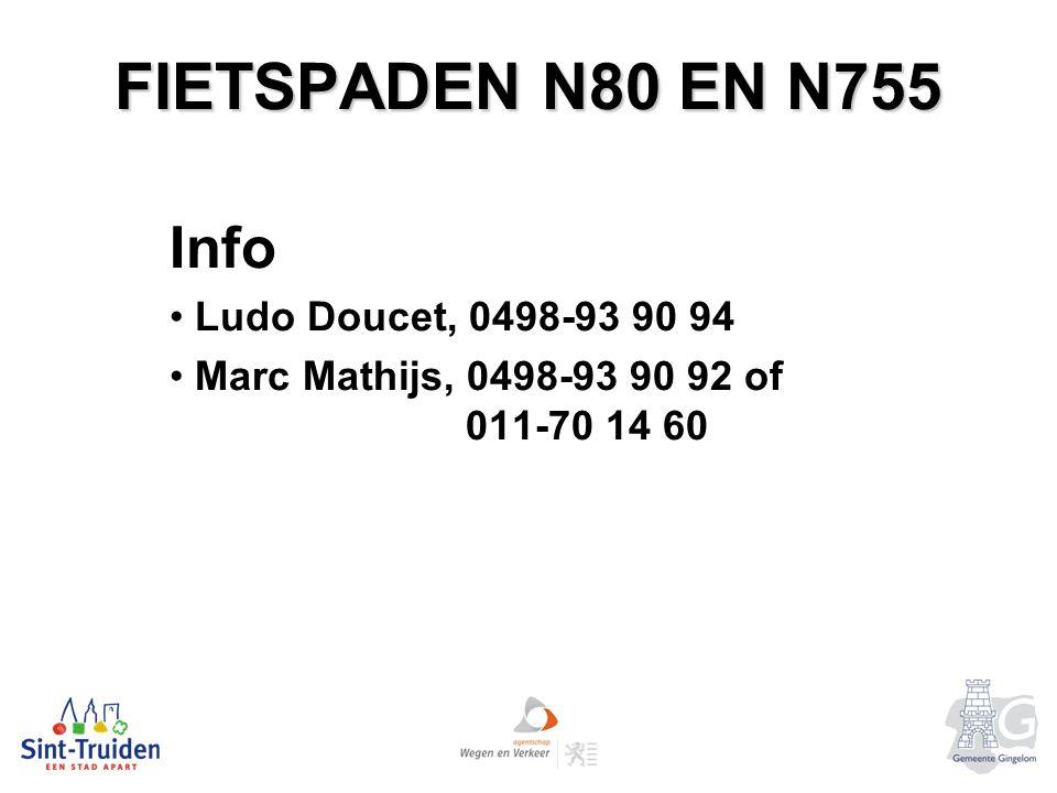 FIETSPADEN N80 EN N755 Info Ludo Doucet, 0498-93 90 94 Marc Mathijs, 0498-93 90 92 of 011-70 14 60