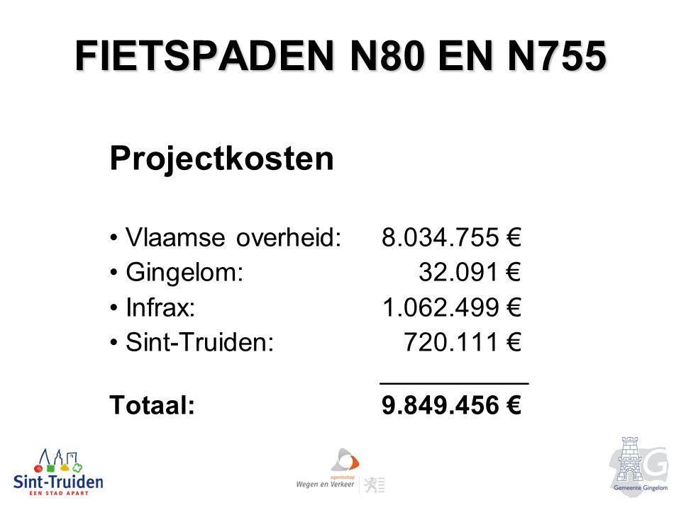FIETSPADEN N80 EN N755 Projectkosten Vlaamse overheid: 8.034.755 € Gingelom: 32.091 € Infrax: 1.062.499 € Sint-Truiden: 720.111 € __________ Totaal: 9.849.456 €