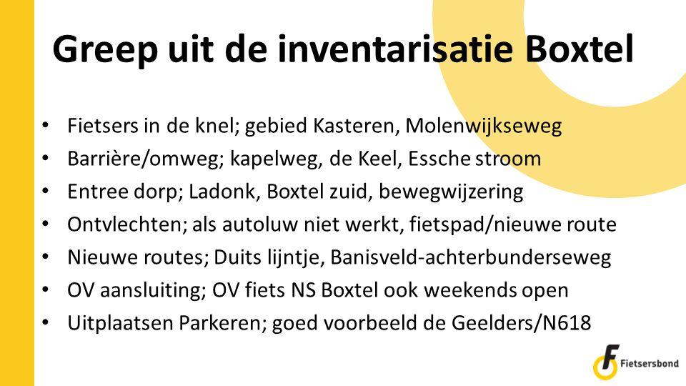 Greep uit de inventarisatie Boxtel Fietsers in de knel; gebied Kasteren, Molenwijkseweg Barrière/omweg; kapelweg, de Keel, Essche stroom Entree dorp;
