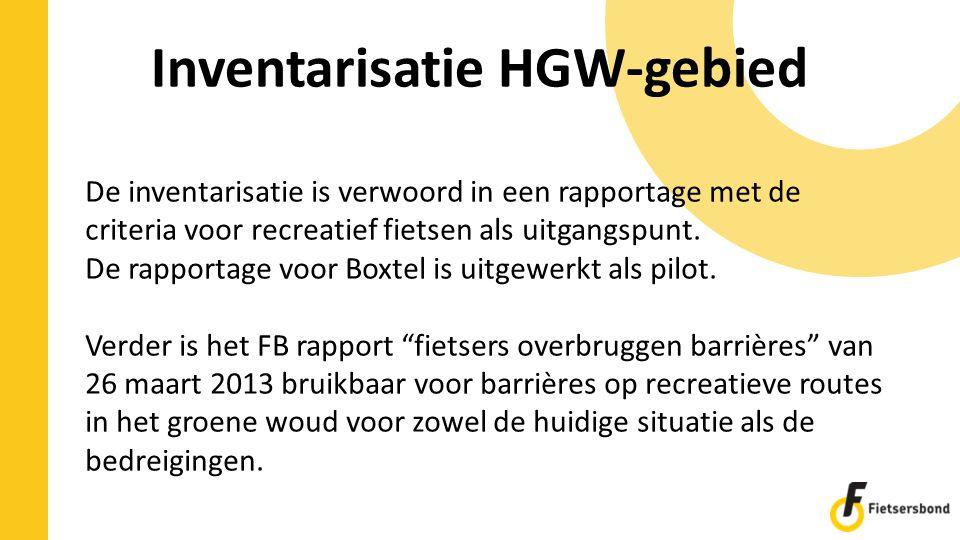 Inventarisatie HGW-gebied De inventarisatie is verwoord in een rapportage met de criteria voor recreatief fietsen als uitgangspunt. De rapportage voor