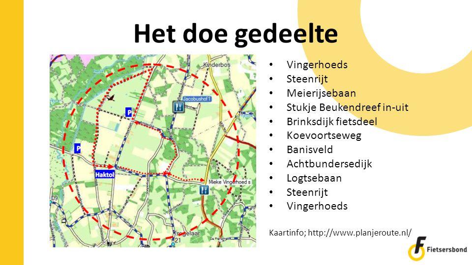 Het doe gedeelte Vingerhoeds Steenrijt Meierijsebaan Stukje Beukendreef in-uit Brinksdijk fietsdeel Koevoortseweg Banisveld Achtbundersedijk Logtsebaa
